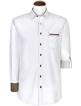 Trendiges Trachtenhemd - Emirat - weiß mit Kontrastnähten | Normal Fit | Krempelärmel | Gr. XS - 4XL | von Spieth...