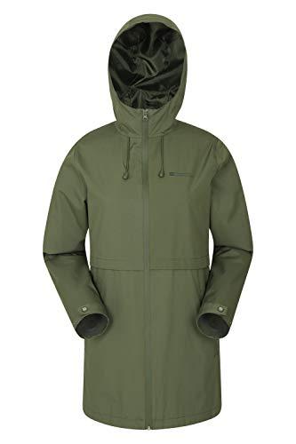 Mountain warehouse hilltop, giacca impermeabile da donna - leggera, traspirante, con cuciture nastrate e tasche, regolabile - per estate, escursionismo, viaggi kaki 44