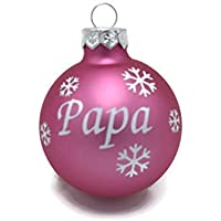 Weihnachtskugel mit Name aus Glas 6cm Wunschtext Rosa Matt