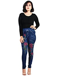 Howdy Blue Color Denim Style With Multi Color Flower Printed Jegging