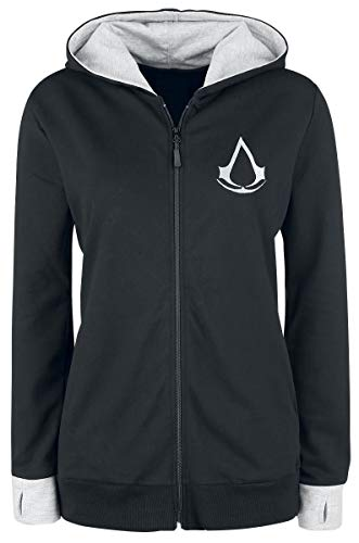 Assassin's Creed Find Your Past Girl-Kapuzenjacke schwarz/hellgrau meliert M (Frauen Creed Assassin Hoodie)