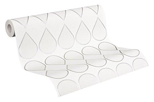 """Preisvergleich Produktbild Raffi my home grafische Vliestapete Serie """"drop/facet"""" weiß. creme. silber-metallic"""