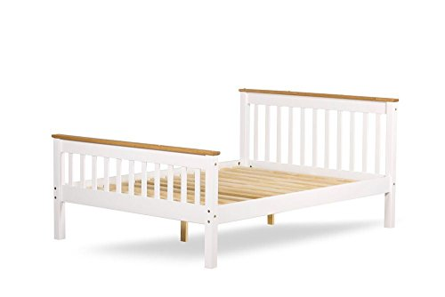 Happy Beds Devon White Finish Wooden Pine Bed Furniture Bedroom Frame 3' Single 90 x 190 cm