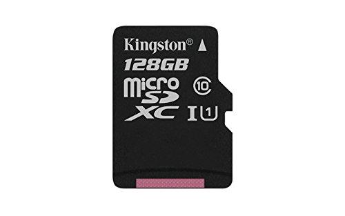 Galleria fotografica Kingston SDC10G2/128GBSP SDC10G2/128GBSP Scheda MicroSD da 128 GB, Classe 10, UHS-I, 45 MB/s, senza Adattatore SD, Nero