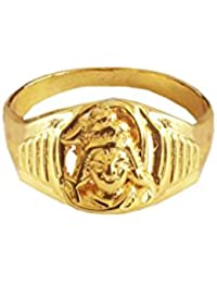 Menjewell New Spiritual Collection High Polished Gold Plated Lord Shiva Design Ring (15.0)