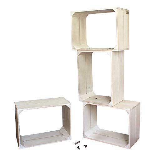 Liza line libreria componibile con 4 cassette in legno di pino - mensole stile vintage. mobile contenitore a 4 vani. pino massiccio - ogni cassa misura 40x30x20 cm (bianco invecchiato)