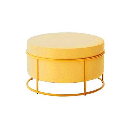 Creative Big Round Hocker Hocker Hocker Puff Polsterstoff Make-up Hocker Wohnzimmer Schlafzimmer Stapelbarer Hocker (49 × 47 cm) Gelb