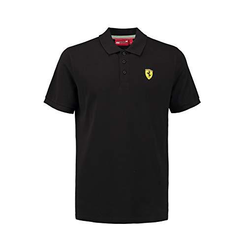 Ferrari 2018 Scuderia Herren Poloshirt, klassischer Stil, Baumwoll-Piqué, Größen XS-XL, Schwarz, (XXL) 47 Inch Chest/EU 60-62