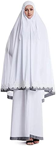 Women's Polyester Prayer Dress Large Overhead Hijab Abaya Lace-edged Dress 2 Pieces