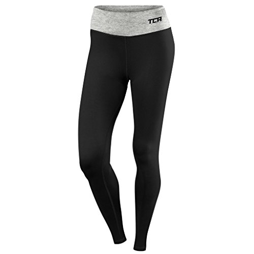 TCA Pro Performance - Damen Laufhose / Leggings - Black/Marl Grey - M (Damen Lange Laufhose)