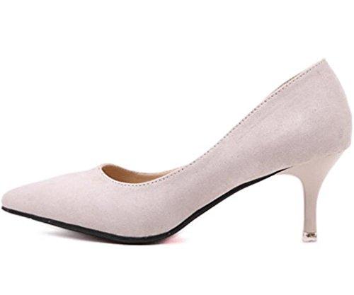 LDMB Frauen spitze Zehe dünn mit Mitte Ferse einzelne Schuhe niedrig, um Überschuhe Schuhe zu helfen apricot