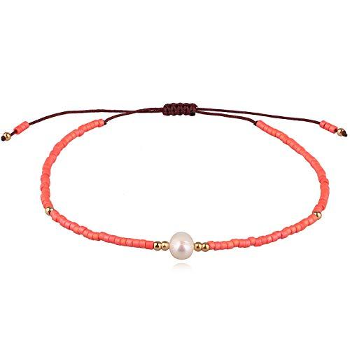 erlen Armbänder Boho Strang Armbänder Armreifen Frauen Mix Perlen Armbänder für Sommer - Koralle ()