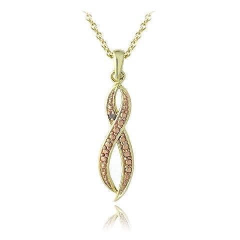 18 Karat Rotgold auf Sterling-Silber 925 Champagner Diamant Akzent Unendlichkeit