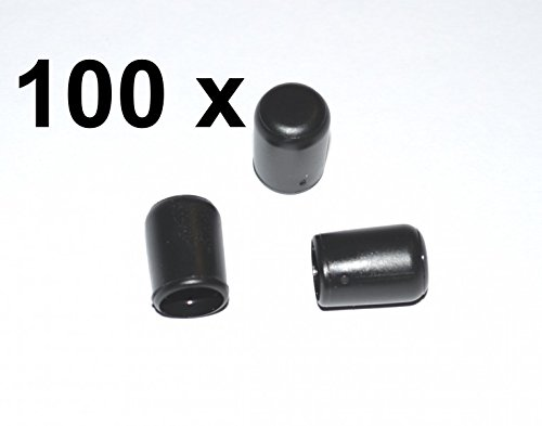 100 x Kappe für Rundrohr D=8 mm L=12 mm schwarz PVC