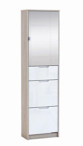 Armario zapatero con un cajon, una puerta con espejo y 2 puertas abatibles 172x46cm roble y blanco