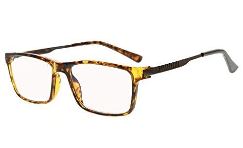 Eyekepper No Line Bifocal Progressive Multifokale Gläser 3 Levels Vision Lesebrillen Amber Getönte Blaue Lichtblockierung (Schildkröte, 2.50) -