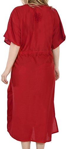LA LEELA Damen Überdimensional Maxi Kimono Kaftan Tunika Kaftan Damen Top Freie Größe StrandKleider In 13 verschiedenen Farben Maroon