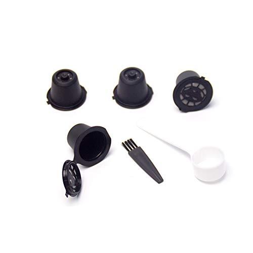 4 filtri riutilizzabili coffee capsule ricaricabili caffè capsula con cucchiaio di caffè spazzole compatibile con nespresso macchina da caffè (nero)
