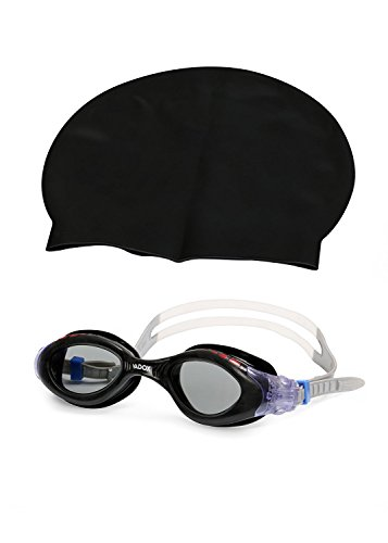 Auxter Complete Swimming Kit with Cap and goggles (Black)