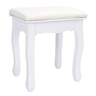 Dressing Table Stool, White Vintage Padded Piano Chair Makeup Seat, 28x37x45cm(LxWxH) - cheap UK light shop.