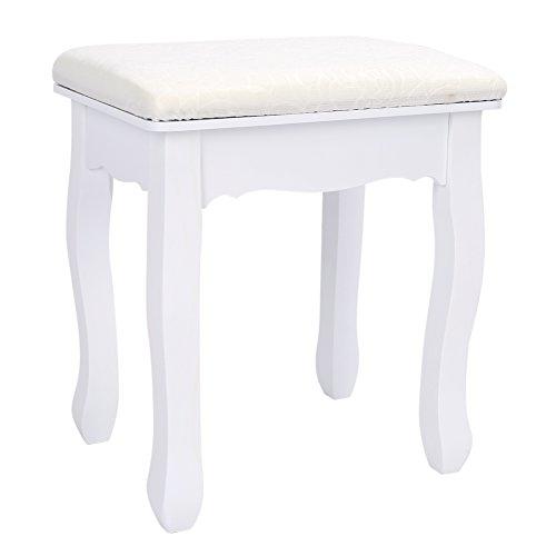 Taburete acolchado para tocador clásico. Color blanco con tapicería barroca.