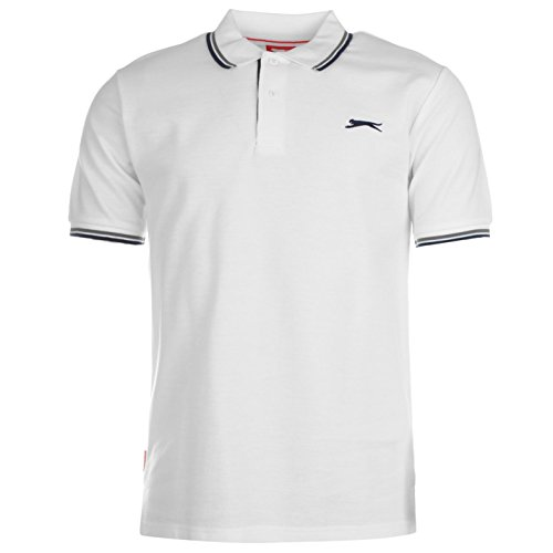 Classic Fit Polo T-shirt (Slazenger Tipped Herren Polo Poloshirt T Shirt Kurzarm Classic Fit Tee Top XL)