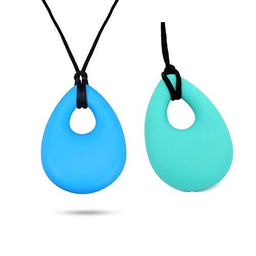 Silikon Zahnen Halskette, weiche Chew Anhänger Fidget Beißring Spielzeug für Autismus oder ADHS Kinder BPA frei Multi Color - 2Pack-Blau und Grün
