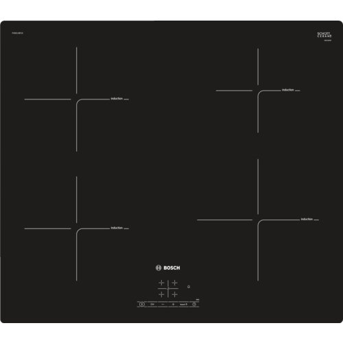 Bosch Serie 4 PUE611BF1E Built-in Zone induction hob Black hob - Hobs (Built-in, Zone induction hob, Ceramic, Black, 1800 W, 18 cm)