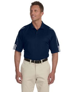 Men's climalite� 3-Stripes Cuff Polo COLLEGT NVY/ WH 3XL (Adidas Piping Shorts)
