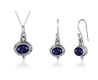 Création handmade-Parure bijoux originaux pas cher-Pendentif et Boucles d'oreille en Pierre de Lapis Lazuli véritable de forme ovale et Argent Massif