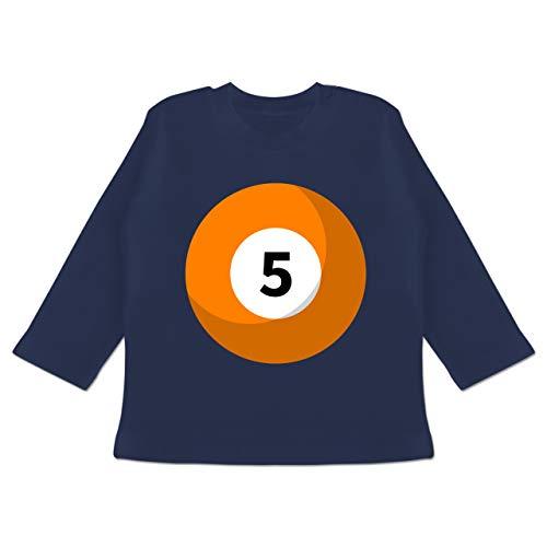 Karneval und Fasching Baby - Billardkugel 5 Kostüm - 12-18 Monate - Navy Blau - BZ11 - Baby T-Shirt Langarm