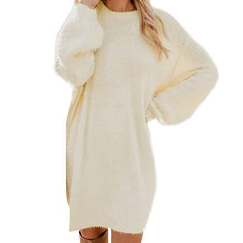 UFACE 2019 Damen Chiffon-Kleid Dreiviertelarm Shirtkleid Casual Spitzenkleid (M, 1334Weiß)