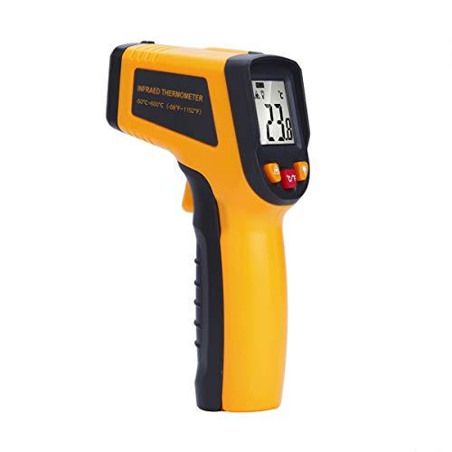 Leijing display lcd per termometro a infrarossi a infrarossi senza contatto digitale con pistola a temperatura ir con selezione c/f (g-y600, yellow)
