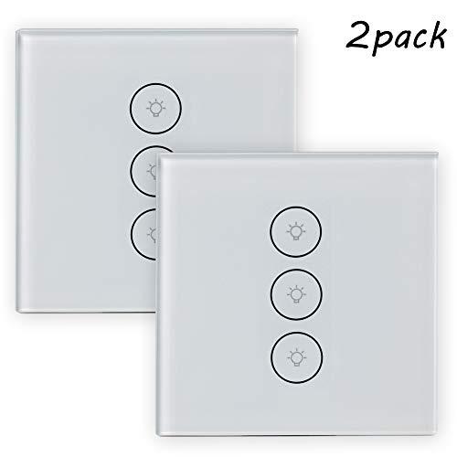 GMACCE Interruttore a Parete Touch Light con indicatore LED Bianco US Standard AC 110-240V Interruttore a 3 Vie, Adatto per Scatola da Parete 1 Banda, Confezione da 2