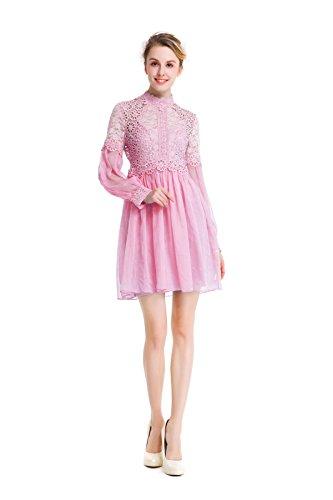 Einfarbig Stehkragen Langen Ärmeln Spitze Zweiteiliges Kleid Pink