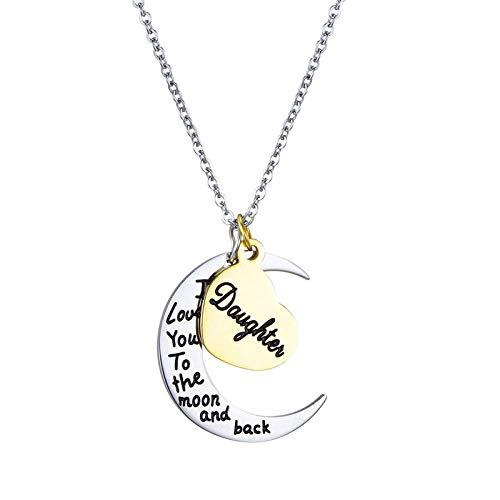 ZCFDXL Halskette Silber Mond Gold Herz Anhänger Halskette Frauen Männer Edelstahl Mutter Schwester Wort Choker Modeschmuck Familie Tochter (Buchstaben 5 Mit Halloween-wörter)