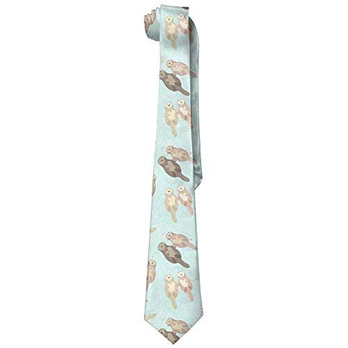 uykjuykj s Otters Man's Wide Silk With Skinny Tie Print Great Elegant Necktie Formal Party Suit Necktie For Men