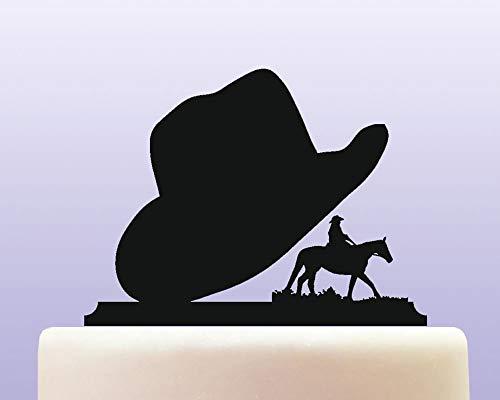 Kuchen-Dekoration aus Acryl mit Cowboy-Hut, Wilder West, für Jahrestag, Party, Dekoration, Geburtstage, Hochzeiten, Mottopartys, Kuchen-Dekoration in Ihrer Farbe