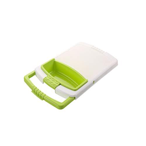 BESTONZON 2 in 1 Schneidebrettchen Schneidebrett mit Sieb über der Spüle Hackklotz mit Gemüsekorb Frühstücksbrettchen für Spüle Spülbecken (Grün)