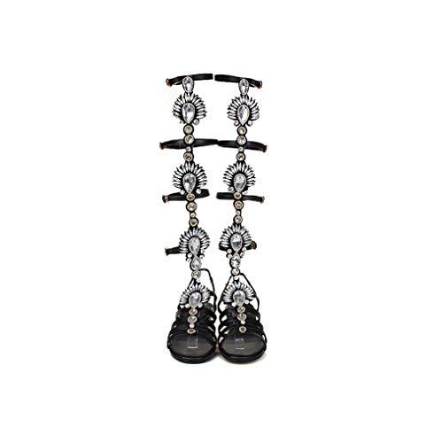 DUQI22 Frauen-Kniehohe Gladiator-Flache Stiefel, Beiläufige Schnüren Sich Oben Flache Römische Sandelholz-Strand-Sommer-Abendkleid-Partei-Feiertags-Schuhe,Black,40EU (Sparkly Kinder Schuhe)