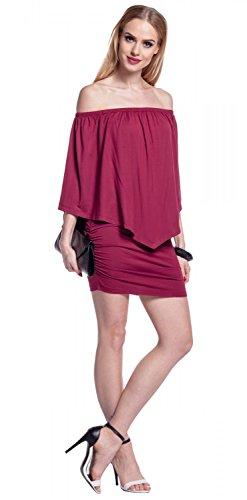 Glamour Empire. Damen Lagendesign Rüschen Bleistiftkleid Carmen-Ausschnitt. 293 Purpur