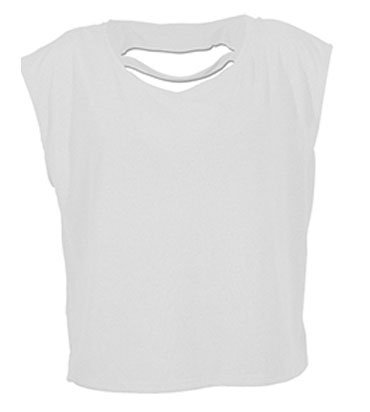 Damen T-Shirt Ladies Lax Shirt Crop Tank Top weiß Kawaii Cupcake Stars Sterne Muffins Weiß