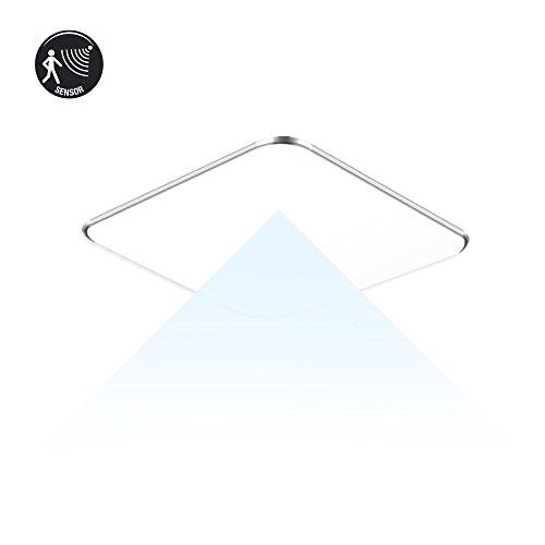 SAILUN 12W Ultra mince LED Plafonnier Lampe Moderne Lampe de Plafond pour salon, Cuisine, chambre à coucher, Hôtel - Argenté (12W Radar Capteur Blanc Froid)