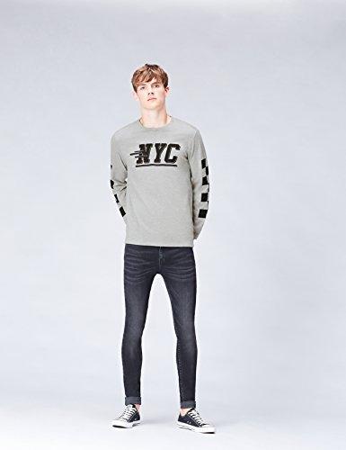 FIND Langarmshirt Herren mit NYC-Logo Lockerer Passform Grau (Grey Marl 002)