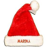 Gorro de navidad, Gorro de Papá Noel para adultos y niños, personalizado con el nombre. Tejido de color rojo imitación coralina tipo peluche. Bordado con el nombre. Talla unica. Aprox 40 x 30 cm