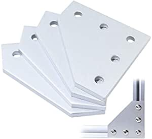 Global Automate 4PCS/Set Corner Bracket Joining Plate with 20PCS M5x8mm Screws and 20PCS M5 T Nuts, 5-Hole Tee Outside Joining Plate for 2020 Series Aluminium profile