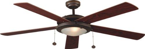 5 Deckenventilator Licht, (Faro 33192 Lorefar Manila Deckenventilator mit Licht, braun, 5Flügel, wendbar, Durchmesser 132cm)