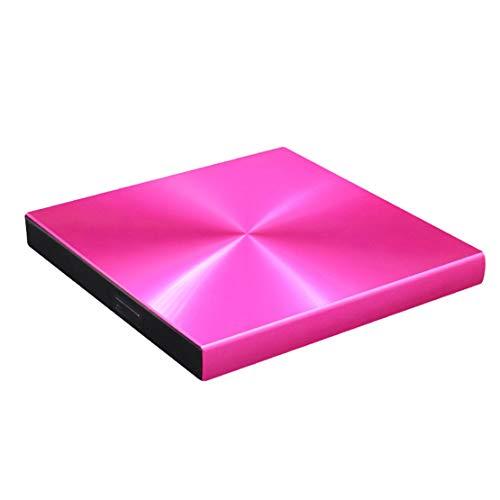 HIOD Externes CD Laufwerk Tragbares Optisches Laufwerk USB 3.0 DVD +/- RW Rewriter Brenner für Laptop/PC/Windows/Mac OS,Pink