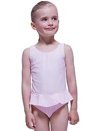 tanzmuster Mädchen Badeanzug Einteiler 'Arielle' mit Röckchen in rosa und pink. Süßes Ballerina Badeanzugkleid für Kinder und Kleinkinder in den Größen 92-164