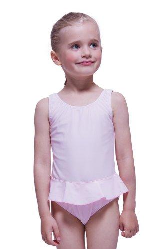Rüschen Ballerina (tanzmuster Mädchen Badeanzug Einteiler 'Arielle' mit Röckchen in hellrosa. Süßes Ballerina Badeanzugkleid für Kinder und Kleinkinder in Größe 128/134)